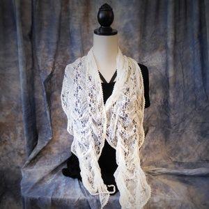 BOHO white vintage lace scarf
